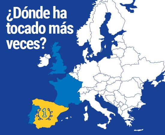Países donde ha tocado mas veces Euromillones