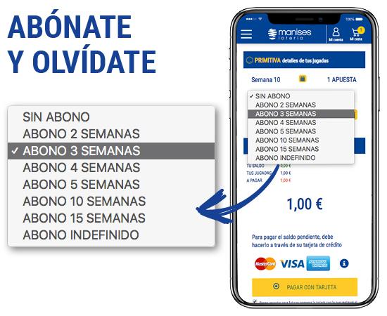 Juega a La Primitiva por Internet en la web de Lotería Manises. Abónate y Olvídate
