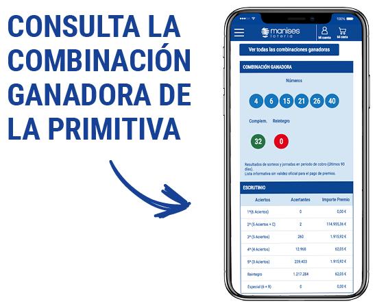Consulta la combinación ganadora de La Primitiva en la página de Lotería Manises